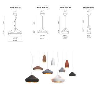 Suspension PLEAT BOX 13 en céramique / Blanc-Or / Marset